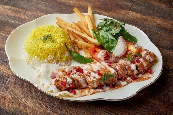 Chicken shish tawook with saffron rice