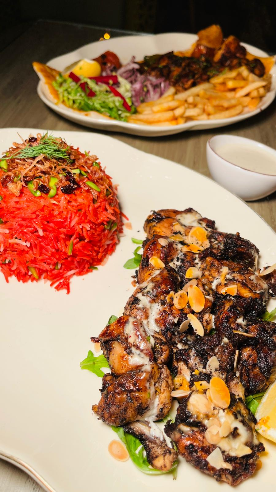 Bahraini tikka with beetroot and pistachio rice